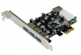 כרטיס VIA  PCI-E USB3.0 x 3+1+LOW P